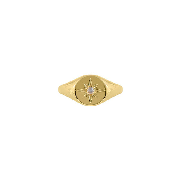 Gold Moonstone Signet Ring