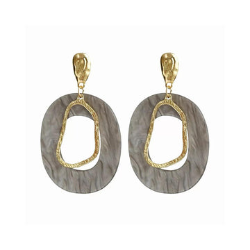 Resin Circle Earrings - Grey