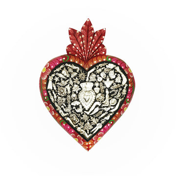 Milagros Plaque Heart - Red