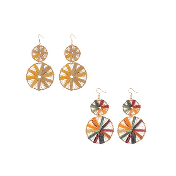 Raffia Disc Earrings