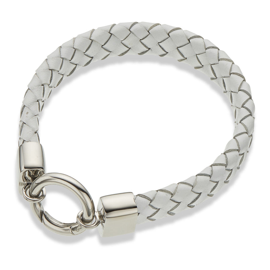White woven leather bracelet with silver clasp