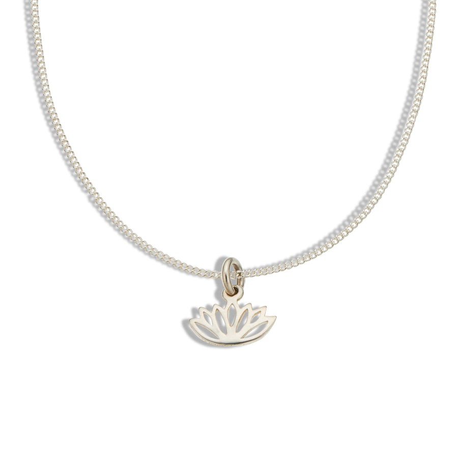 Fine silver chain with silver cut out lotus charm