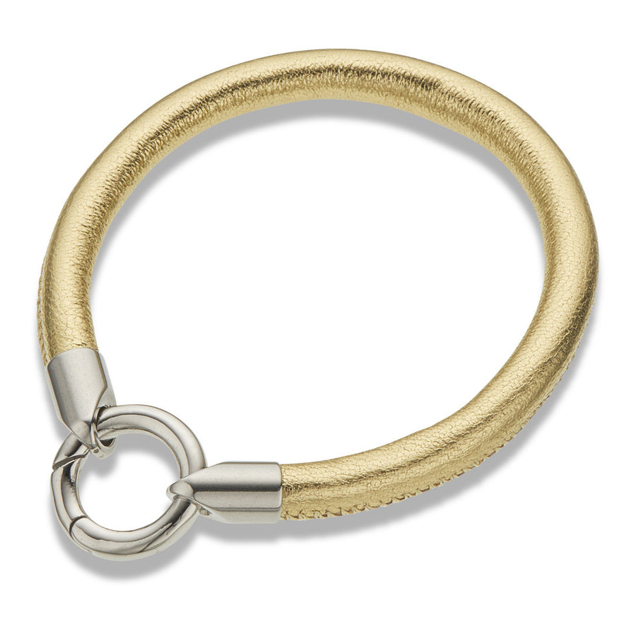 Gold leather tube bracelet with silver clasp