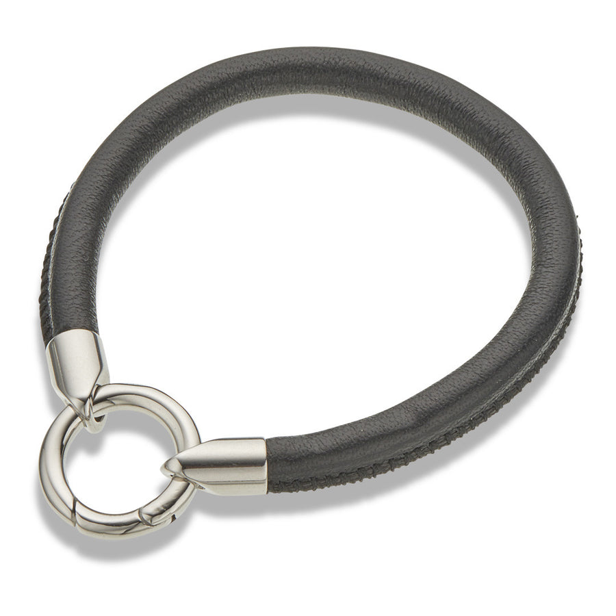 Black leather tube bracelet with stainless steel ring clasp