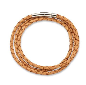Palas Plaited Leather Wrap Bracelet - Tan