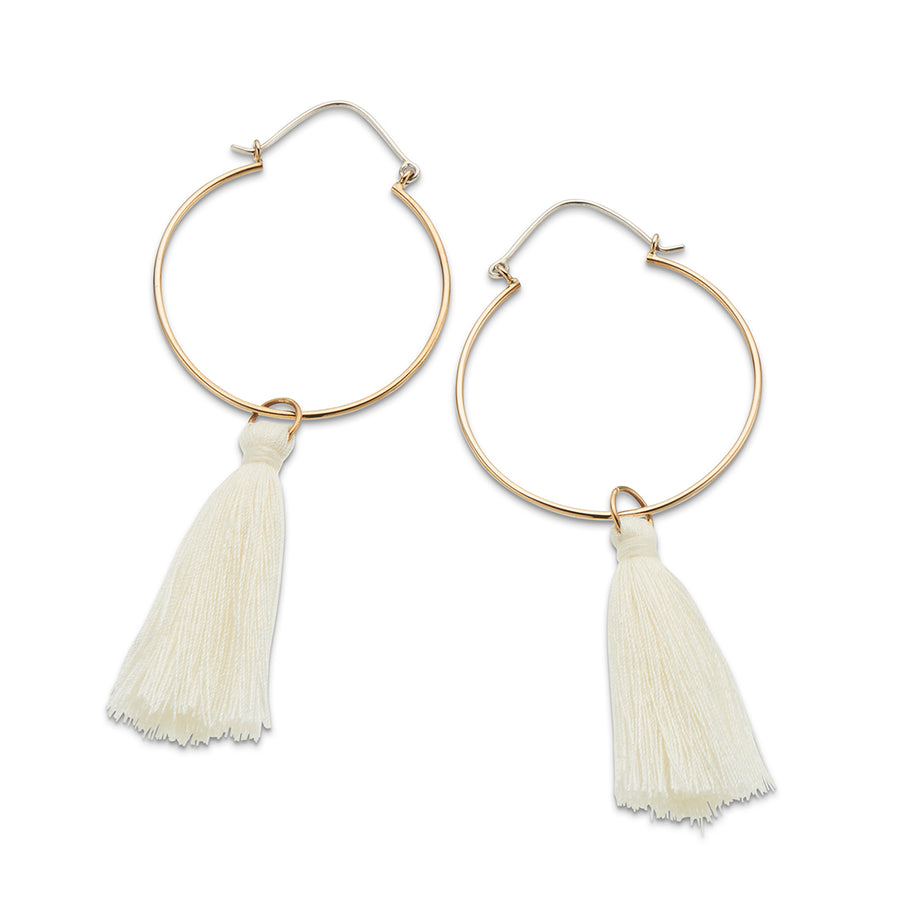 Bronze and sterling silver drop hoop white tassel earrings
