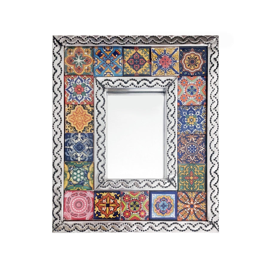 Mexican Tiled Tin Mirror - Small