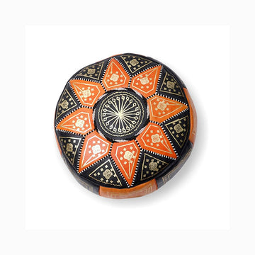 Small Moroccan Star Ottoman - Orange and Black