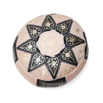 Small Moroccan Star Ottoman - Black and Cream