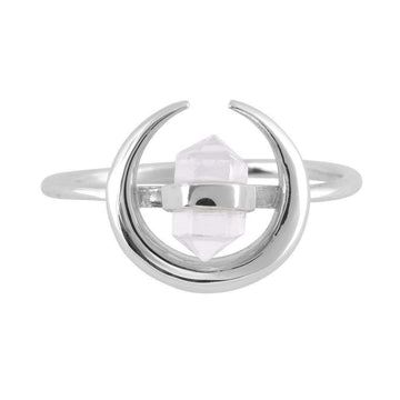 Crescent Crystal Ring - Silver