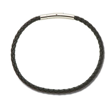 Palas Thin Plaited Leather Bracelet - Black