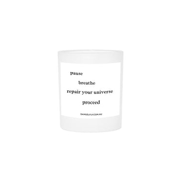 Quote Candle 'Pause and Breathe' Large
