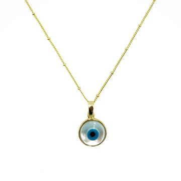 Small Evil Eye Mother of Pearl Necklace - Gold