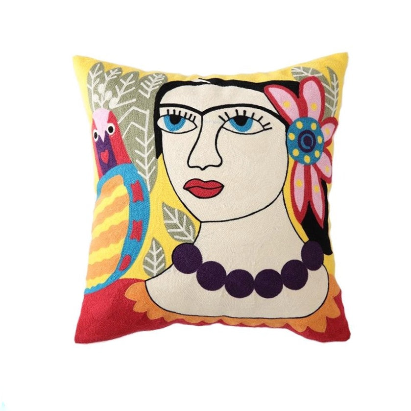 Frida Embroidered Cushion - Yellow