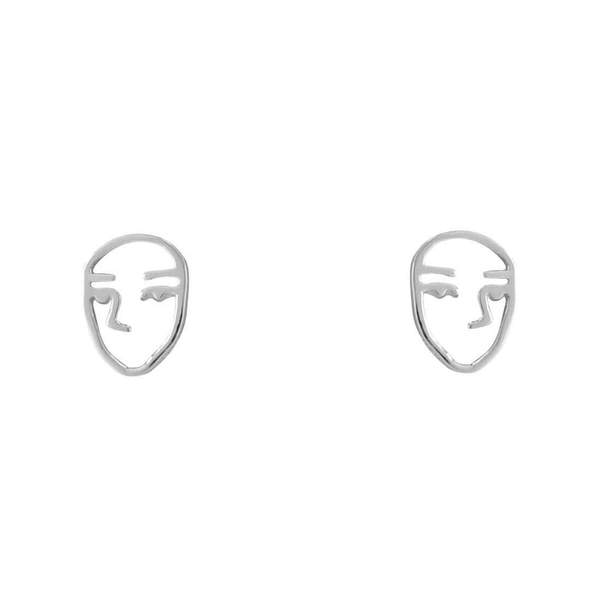 Silver cut out face stud earrings