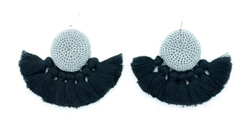 Hamimi Crochet Tassel Earrings - Grey & Black