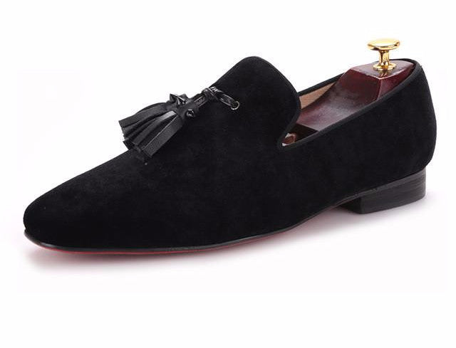 HOWARD men's handmade velvet Loafers with new leather rivet tassel