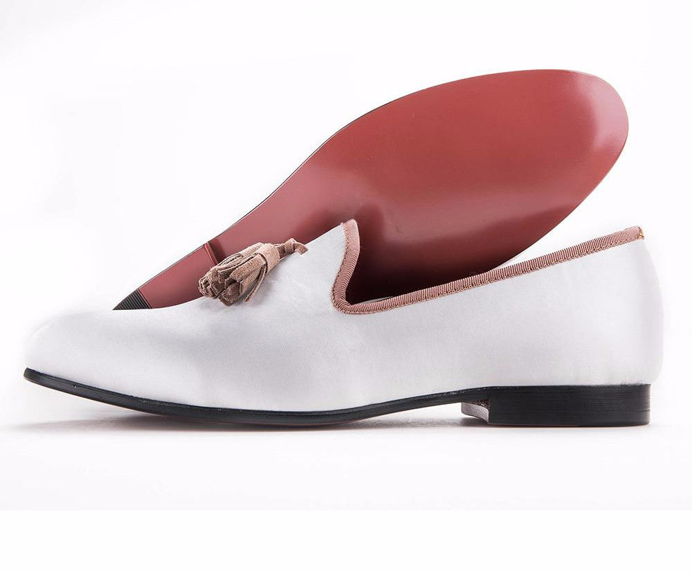 LONG white sequined cloth shoes with brown tassel