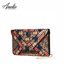AMELIE GALANTI fashion day clutches beading sequined PU envelope versatile original design cover women solid soft messenger bags