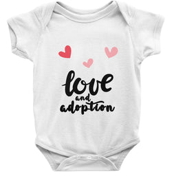 heart graphic love adoption onesie in white