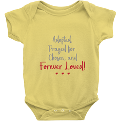 Adopted, Prayed For, Chosen, Forever Loved Onesie | Adoption Gifts, Clothing & Apparel