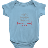 blue adopted and forever loved onesie