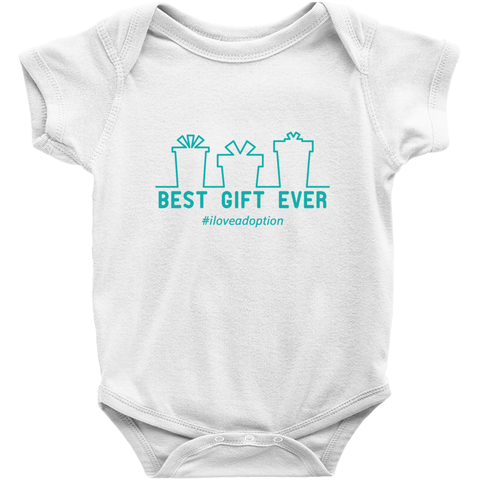 white best gift ever holiday adoption onesie