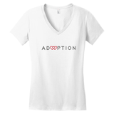 white adoption v neck shirt