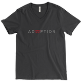 black v-neck adoption shirt