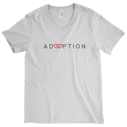 White v-neck adoption shirt