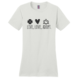 Live, Love, Adopt Women's T-Shirt | Adoption Gifts, Clothing & Apparel