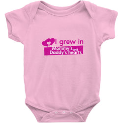 Adoption Gift - Adoption Onesie -- I Grew in Mommy's and Daddy's Hearts