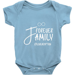 blue forever family adoption onesie