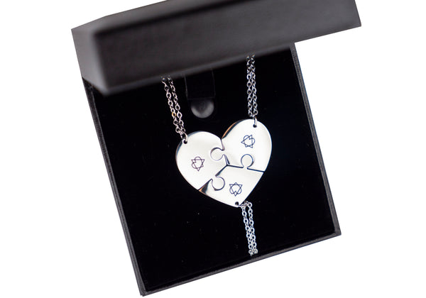 Pieces of Our Heart Adoption Symbol Necklace Set (Three Necklaces Set) | Adoption Jewelry