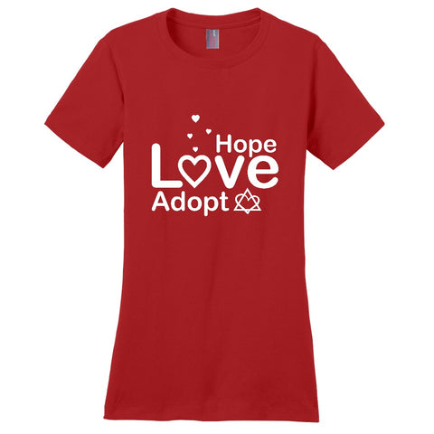 Hope, Love, Adopt Women's T-Shirt | Adoption Gifts, Clothing & Apparel