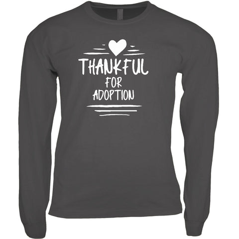 Thankful for Adoption Men's Long Sleeve Shirt | Adoption Gifts, Clothing & Apparel