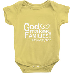 yellow God makes families onesie