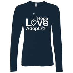 navy hope love adopt long sleeve shirt