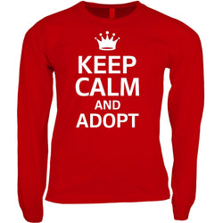 red keep calm and adopt long sleeve adoption shirt