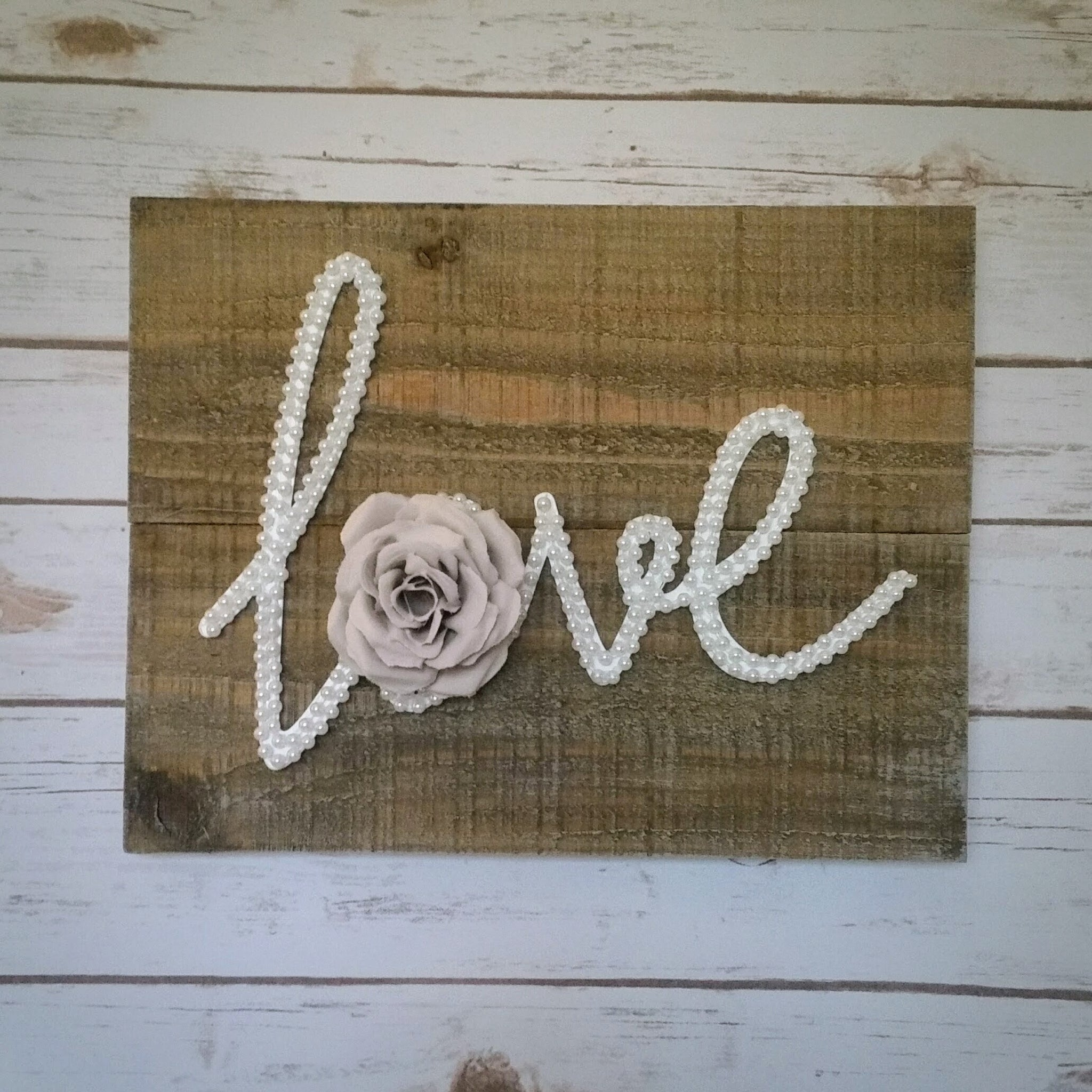 White Pearls U0026 Blush Rose LOVE Wall Art