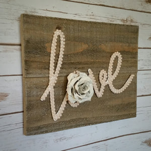 Blush Pearls U0026 White Rose LOVE Farmhouse Wall Art