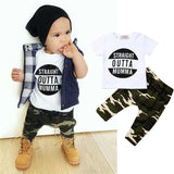 Short Sleeve T Shirt +Long camouflage Pants Cotton Outfits New Born Clothes Set