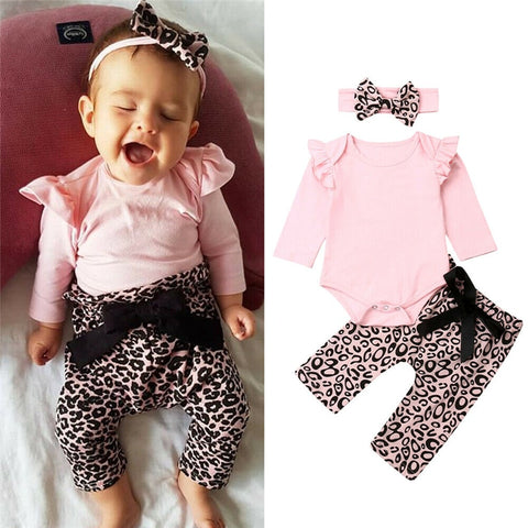 Solid Top Leopard Print Pants Headband Ruffles Outfits