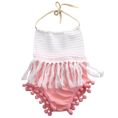 Newborn Toddler Baby Girls Sleeveless Tassels Strap Romper cotton halter backless Jumpsuit Outfit Clothes - TheUrbanSky
