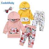 Hooded Tops Floral Pants Cotton