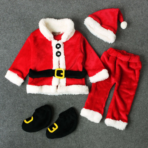 Christmas Baby Boy Girl Clothes Santa Claus Tops Pants Hat Shoes Xmas