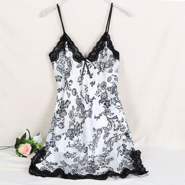Ladies Sexy Silk Satin Night Dress Sleeveless V-neck Nightgown Lace Sleepwear For Women - TheUrbanSky