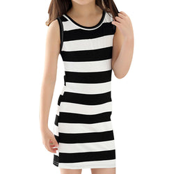Children Girls' Clothing Black And White Stripes Summer Girl Dress 100% Cotton 3-14 Kids Vest Dresses for Teenage Girls - TheUrbanSky