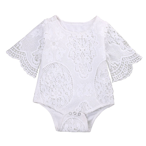 Lovely Gifts Baby Girls White ruffles Sleeve  Romper Infant Lace Jumpsuit Clothes Sunsuit Outfits - TheUrbanSky