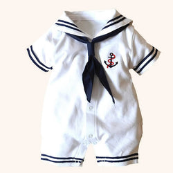 Newborn baby clothes White Navy Sailor uniforms summer baby rompers Short sleeve one-pieces jumpsuit baby boy girl clothing - TheUrbanSky
